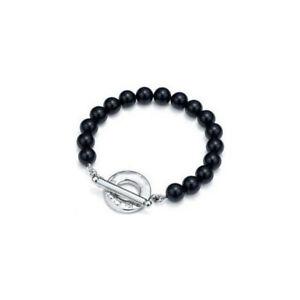 Ladies stunning black pebble ball bracelet bangle fashion jewellery link cuff UK