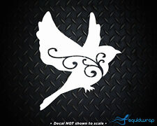 Bird Girly Flying Design Car Decal / Laptop Sticker - WHITE 5""