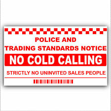 No Cold Calling/Salesman Callers Window/Door Warning House Sticker Sign-Generic