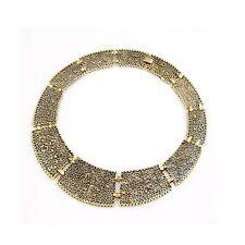 Gold Filigree Aztec Tribal Statement Collar Cleopatra Costume Jewellery Necklace
