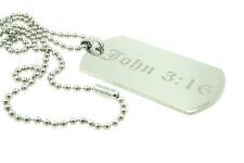 John 3:16 Jesus Christ Custom Engraved Dog Tag Pendant Necklace Christian