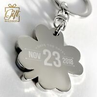 Personalised Customised Metal Keyring Engraved Gift Keychain Clover Shape
