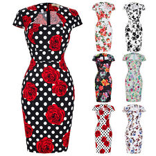 Women Wiggle Pencil Vintage 50s Pin Up Floral Dress Ladies Party Retro PLUS SIZE