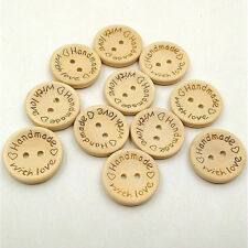 "100 PCS Wooden ""Handmade with love"" Buttons Crafting Sewing Closures Connectors"