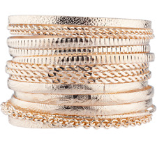 Lux Accessories Rose Gold Tone Azte Multi Bangle Set of 15