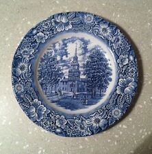 Staffordshire LIBERTY BLUE ironstone DINNER PLATE Independence Hall transferware