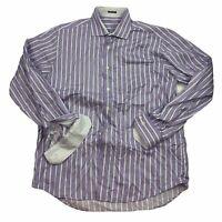 BUGATCHI UOMO Men's XL Purple Button Front Dress Shirt Classic FIT Flip Cuffs