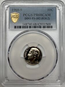 1968 S Roosevelt Proof Dime PCGS PR68 CAM Silver Registry Coin 10C Only 2 in CAM