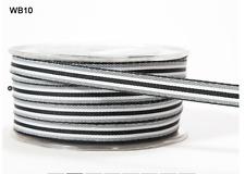 "3/8"" Grosgrain Stripes Ribbon - May Arts - WB10 - Black/White - 5 Yds."