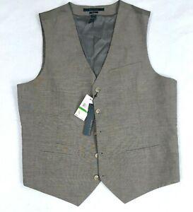 Perry Ellis Vest Large Mens Tan Linen 5 Button Slim Fit  4 Pocket