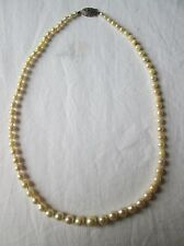Antique Art Deco 1920s Pearl Necklace Gold Clasp. Largest Pearl 8mm.