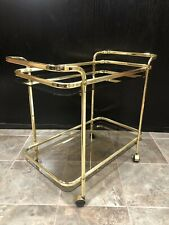 Mid Century Modern Martini Wine Bar Tea Cart Gold/Brass Glass Vintage Serving