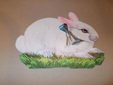 "Vtg Eureka Easter Bunny Die Cut Cardboard Decoration Large 11"" Blue Ribbon Cute"
