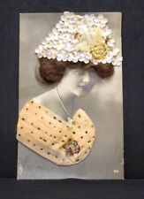 PFB Paul Fink Berlin RPPC with Real Hair, Hat and Dress Circa 1900 Postcard
