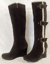 Womens Size 7M Kenneth Cole Reaction Chocolate Brown Suede Wedge Boots