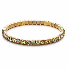 1 x 18K Gold Plated Austin Crystals Flexible Tennis Gold Bracelet