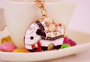 White Elephant Indian Style Crystal Diamante Bag Charms Handbag Keyrings Pendant