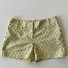 "Ann Taylor LOFT Citron Embroidered Stitch Cute Shorts SZ 2 Flat Front 4"" Inseam"