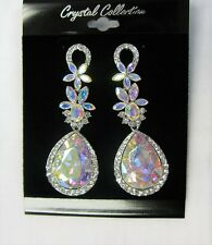Silver Iridescent Aurora Borealis Rhinestone Crystal Dangle Chandelier Earrings