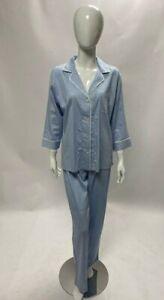 Pyjamas Women's Medium Blue Ralph Lauren Cotton Stripe Summer New