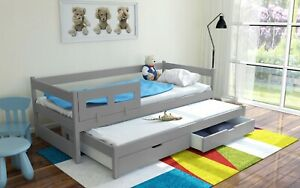 Kids Toddler trundle bed with drawers TOMA real wood & MDF FREE mattresses