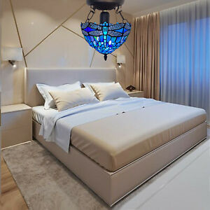 """Adorable Alluring Tiffany New Dragonfly Style """"10""""Handcrafted Ceiling Light UK"""