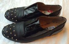Women's NEW Robyn Oxford Black Sz 6.5 Shoes Studded Shiny Flat XOXO