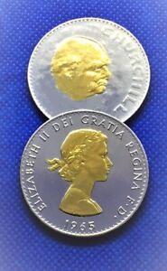1965  BU Winston Churchill Rhodium -Plated & Gold Heads to both sides