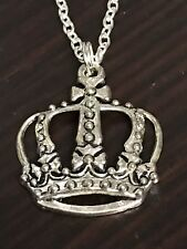 "Queen's Crown Large Charm Tibetan Silver 18"" Necklace B224 BIN"
