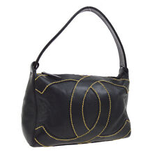 CHANEL Wild Stitched Jumbo CC Hand Bag 9124116 Purse Black Leather VTG K08722