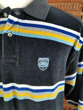 Ecko Unltd Men Sz: L Navy Blue White Gold Stripe Velour S/S Shirt Logo