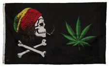 3x5 Rasta Crossbones Pirate Weed Marijuana Flag 3'x5' Grommets Tfj