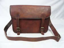 "14x10"" Vintage Brown Leather Satchel 13"" Macbook Laptop CrossBody Messenger Bag"