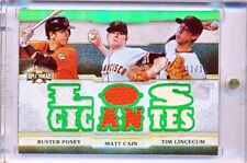 """2014 TOPPS TRIPLE THREADS RELIC COMBO POSEY, CAIN, LINCECUM  """"LOS GIGANTES"""" /18"""