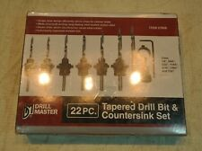 Carbon Steel Tapered Drill Bit And Countersink Set 22 Pc