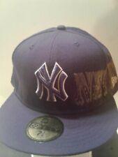 MLB New York Yankees New Era 59fifty Hat 7 5/8 fitted Graffiti Print Purple Rare