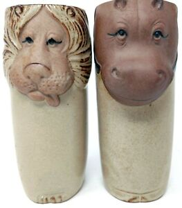 """Horse and Lion Glazed Pottery Tumblers Cups 5.75"""" H x 2"""" W 12 Ounce Rare Unique"""