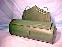 VINTAGE CANDLE MATCH HOLDER PRIMITIVE STYLE REPRODUCTION TIN PUNCHED WALL MOUNT