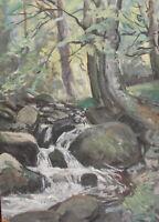 Vintage impressionist oil painting forest river landscape