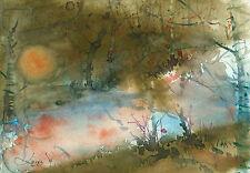 watercolor painting aquarelle original Picture(30x21)cm0142 PL Landschaft