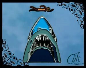 Jaws metal and enamel Pin Badge set of two pins, shark and swimmer. Movie pin