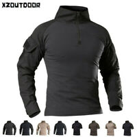 Military Men's T-Shirt Tactical Combat Shirt Casual Shirt Army Hiking Camouflage