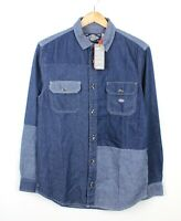 Superdry Mens Blue Denim Worker Shirt Patchwork Pattern Long Sleeve BNWT - S