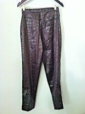 Vintage 80's women pant faux leather crocodile brown high waist Makali size 4 6
