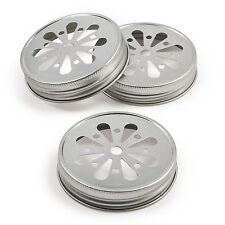 12 Metal Decorative Mason Jar Lids DAISY FLOWER DESIGN SILVER COLOR canning lid