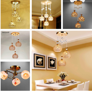 Beautiful LED Crystal Pendant Light Restaurant Bar Living Dining Rm Ceiling Lamp