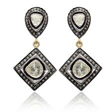 14K Gold Fine Anniversary Gift Jewelry 925 Silver Diamond Pave Dangle Earrings