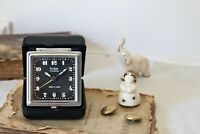 Folding Travel Alarm Clock Small Working Antique Vintage Clock in Black Case
