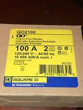 New In Box ~ Square D Qo2100 2-Pole 100-Amp 120/240V Plug-On Circuit Breaker