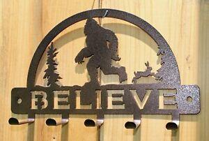 BIGFOOT Key Holder5 Hooks Wall Hanger Rack Trees BELIEVE Plasma Metal Art